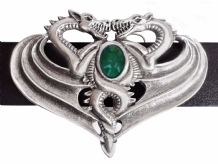 Opposing Dragons Pewter Belt Buckle with a Emerald-coloured Stone BB504